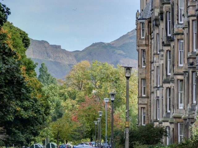 Salisbury Crags from Warrender Park Crescent