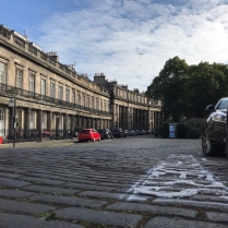 Setted surface looking East along St. Bernard's Crescent