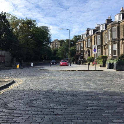 Setted surface looking West along Dean Park Crescent